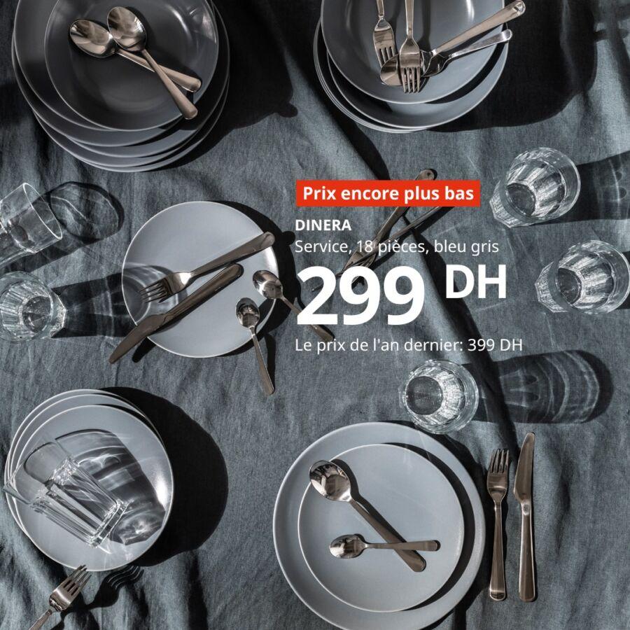 Promo Ikea Maroc Service 18 pièces DINERA 299Dhs au lieu de 399Dhs