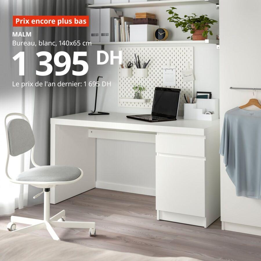 Soldes Ikea Maroc Bureau blanc MALM 1395Dhs au lieu de 1695Dhs