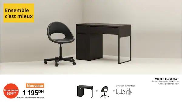 Offre Ikea Maroc Ensemble c'est Mieux Bureau brun noir + chaise pivotante 1195Dhs au lieu de 1829Dhs
