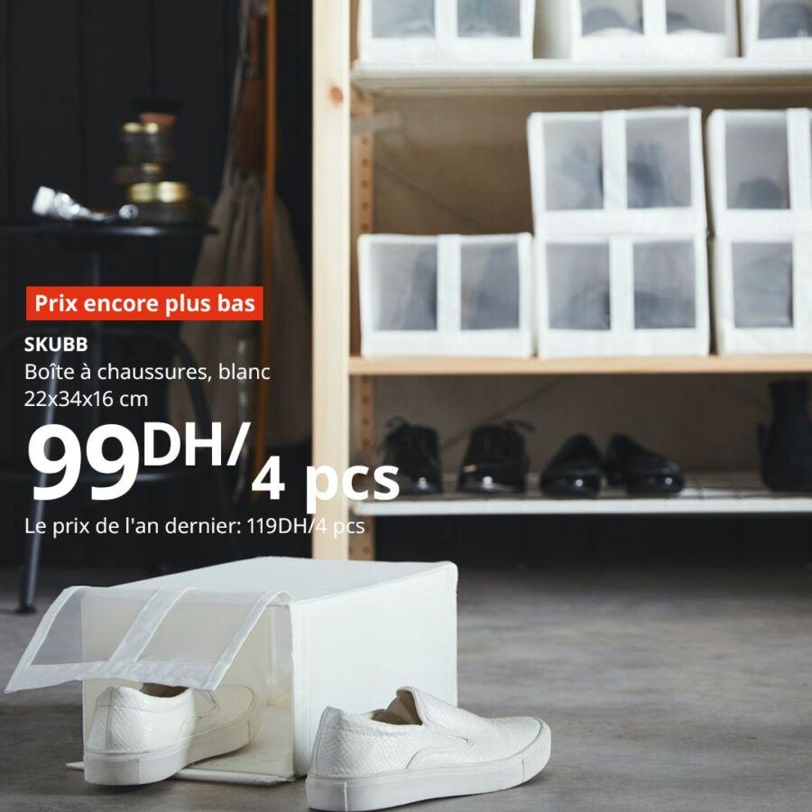 Prix encore plus bas Ikea Maroc Boîte à chaussures SKUBB 99Dhs au lieu de 119Dhs
