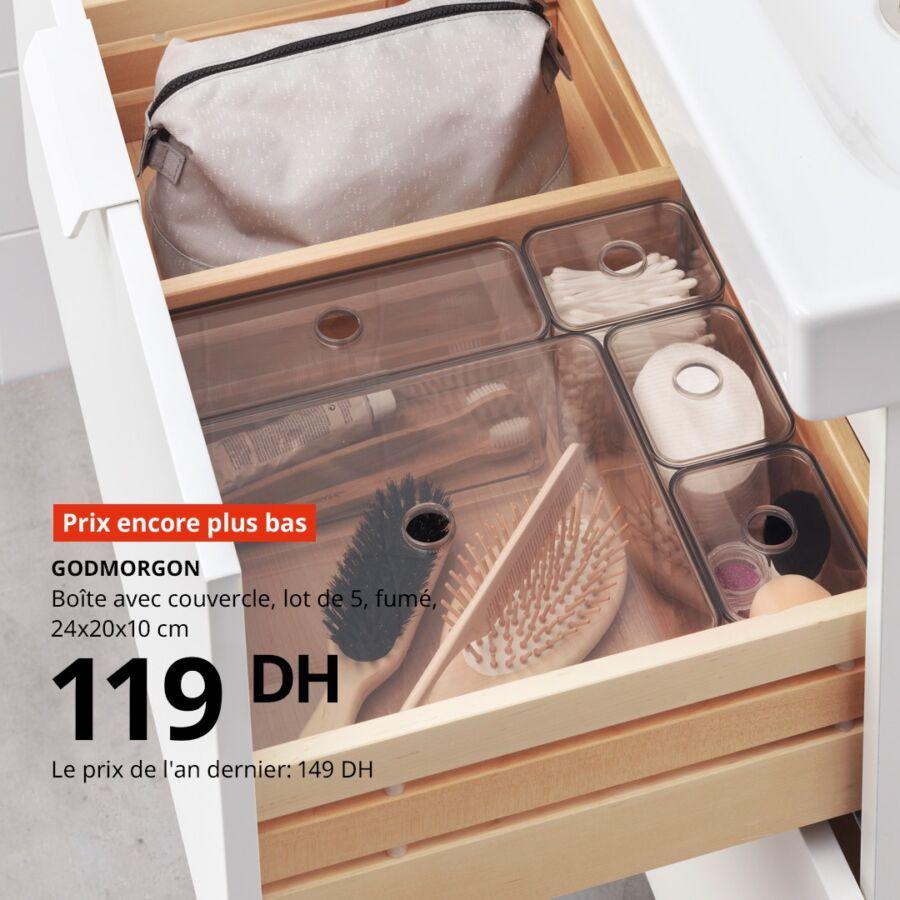 Soldes Ikea Maroc lot de 5 Boîtes avec couvercle GODMORGON 119Dhs au lieu de 149Dhs