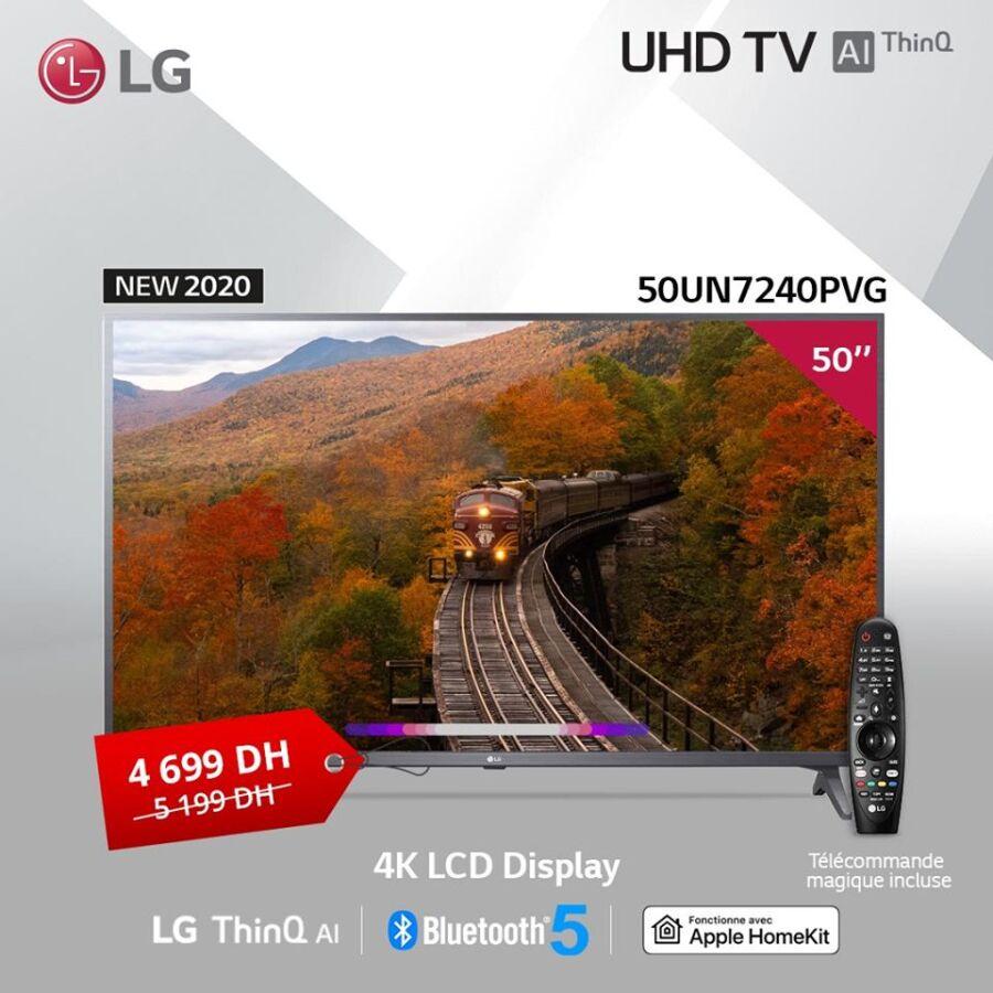 Soldes LG Maroc Smart TV 50° AI ThinQ 4K UHD 4699Dhs au lieu de 5199Dhs