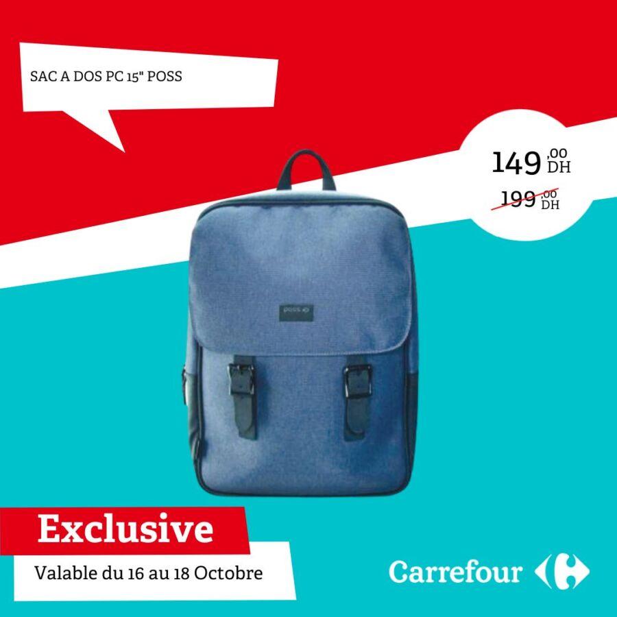 Soldes Carrefour Maroc Sac à dos 150 POSS 149Dhs au lieu de 199Dhs