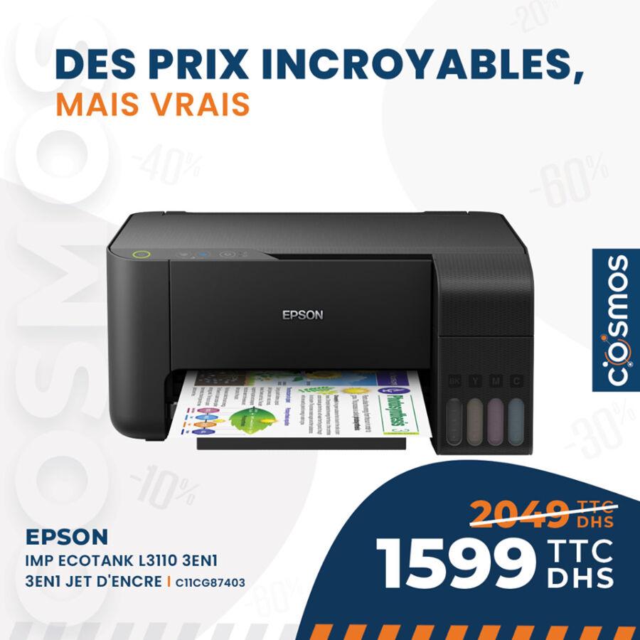 Promo Cosmos Electro Imprimante EPSON 3en1 ECOTANK 1599Dhs au lieu de 2049Dhs