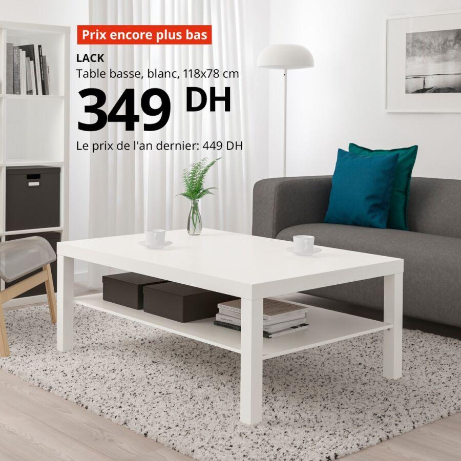 Prix encore plus bas chez Ikea Maroc Table basse LACK 349Dhs au lieu de 449Dhs