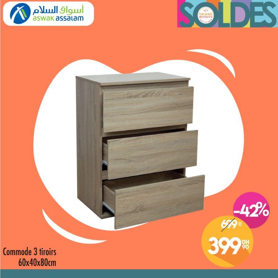 Solde Aswak Assalam Commode 3 tiroirs 399Dhs au lieu de 699Dhs
