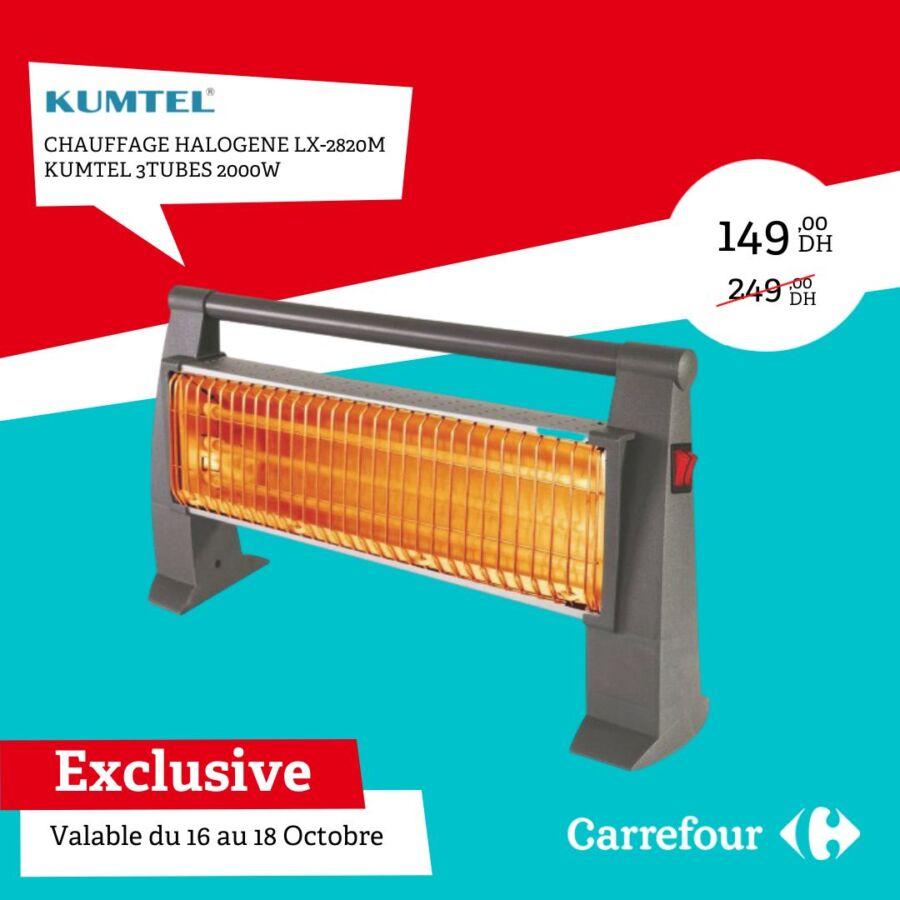 Soldes Carrefour Maroc Chauffage halogène 3tubes KUMTEL 149Dhs au lieu de 249Dhs