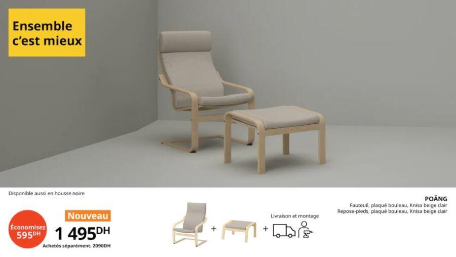 Offre Ensemble c'est mieux Ikea Maroc Fauteuil + repose-pieds POANG 1495Dhs au lieu de 2090Dhs