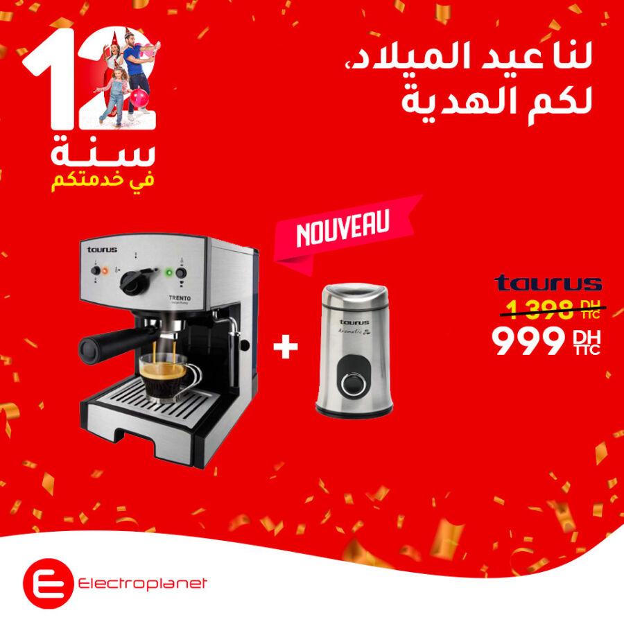 Promo Electroplanet Cafetière + moulin à café TAURUS 999Dhs au lieu de 1398Dhs