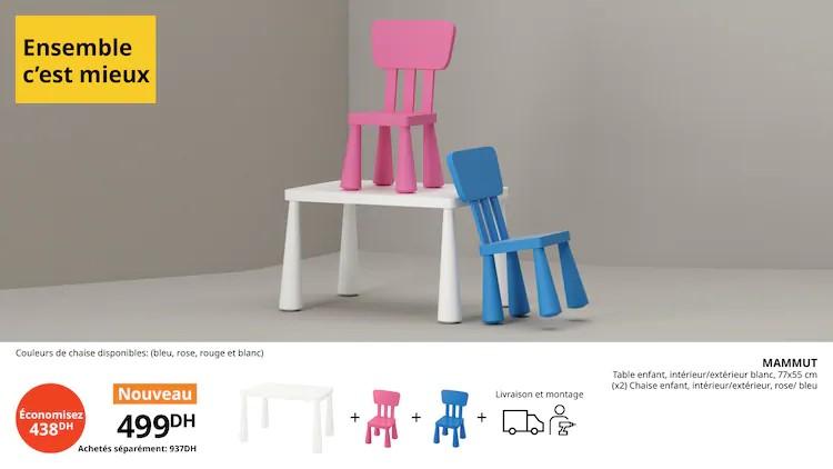 Offre Ikea Maroc Ensemble c'est Mieux Table + 2 chaises MAMMUT 499Dhs au lieu de 937Dhs