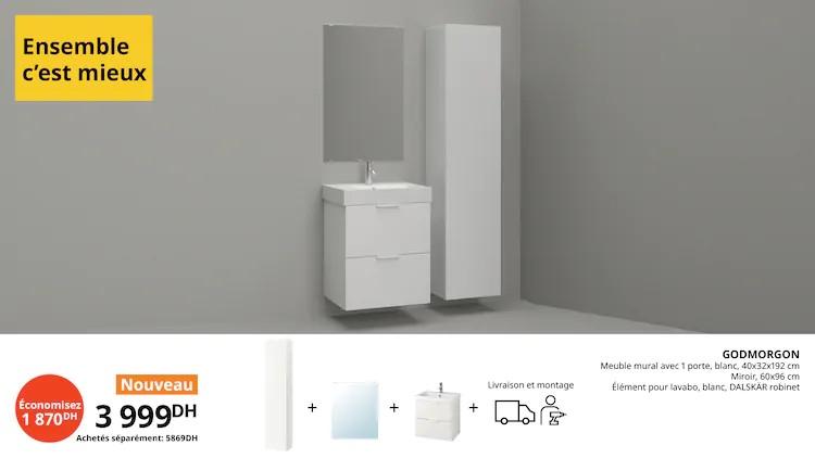 Promo Ikea Maroc Meuble + Miroir + élément lavabo GODMORGON 3999Dhs au lieu de 5869Dhs
