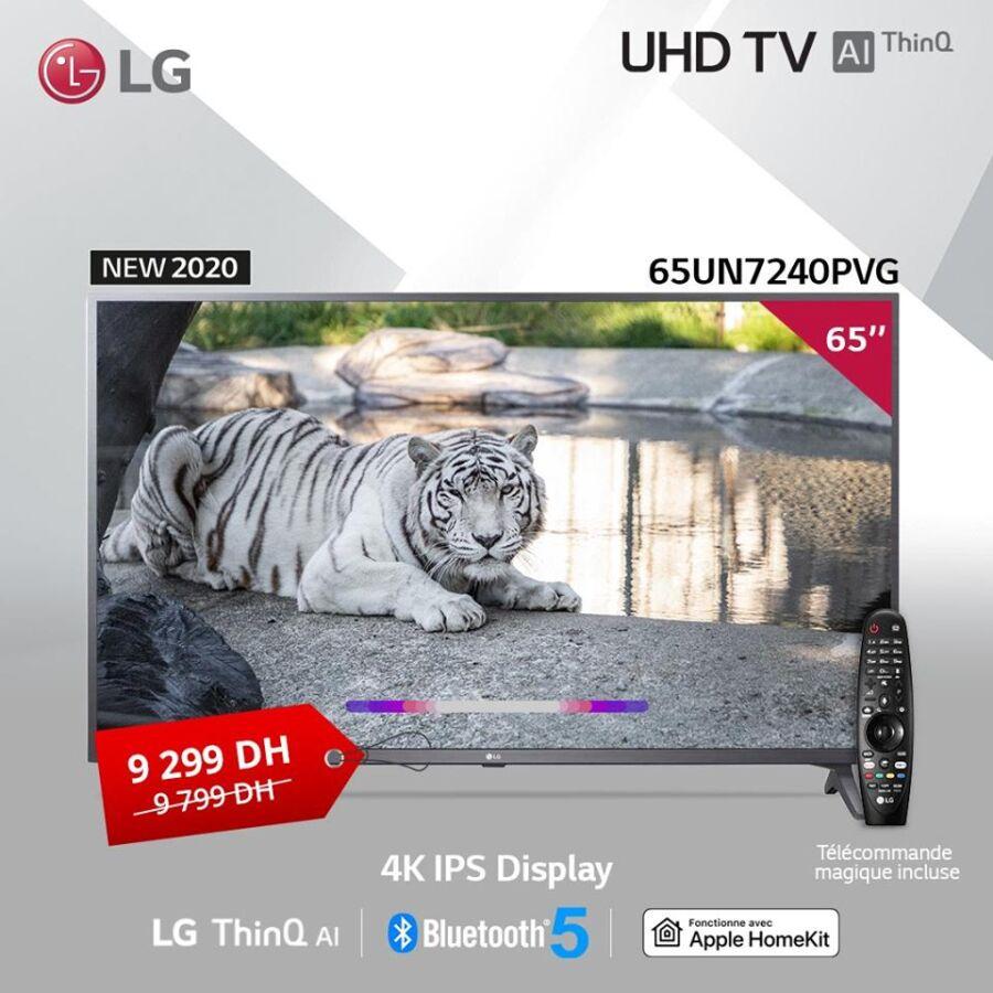 Soldes chez LG MAROC Smart TV 65° 4K IPS Display 9299Dhs au lieu de 9799Dhs