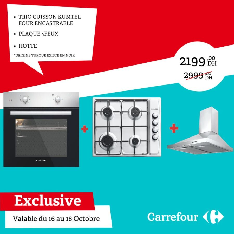 Soldes Carrefour Maroc Trio cuisson KUMTEL 2199Dhs au lieu de 2999Dhs