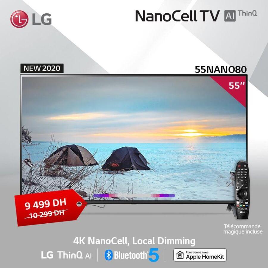 Soldes chez LG MAROC Smart TV 55° 4K NanoCell 9499Dhs au lieu de 10299Dhs