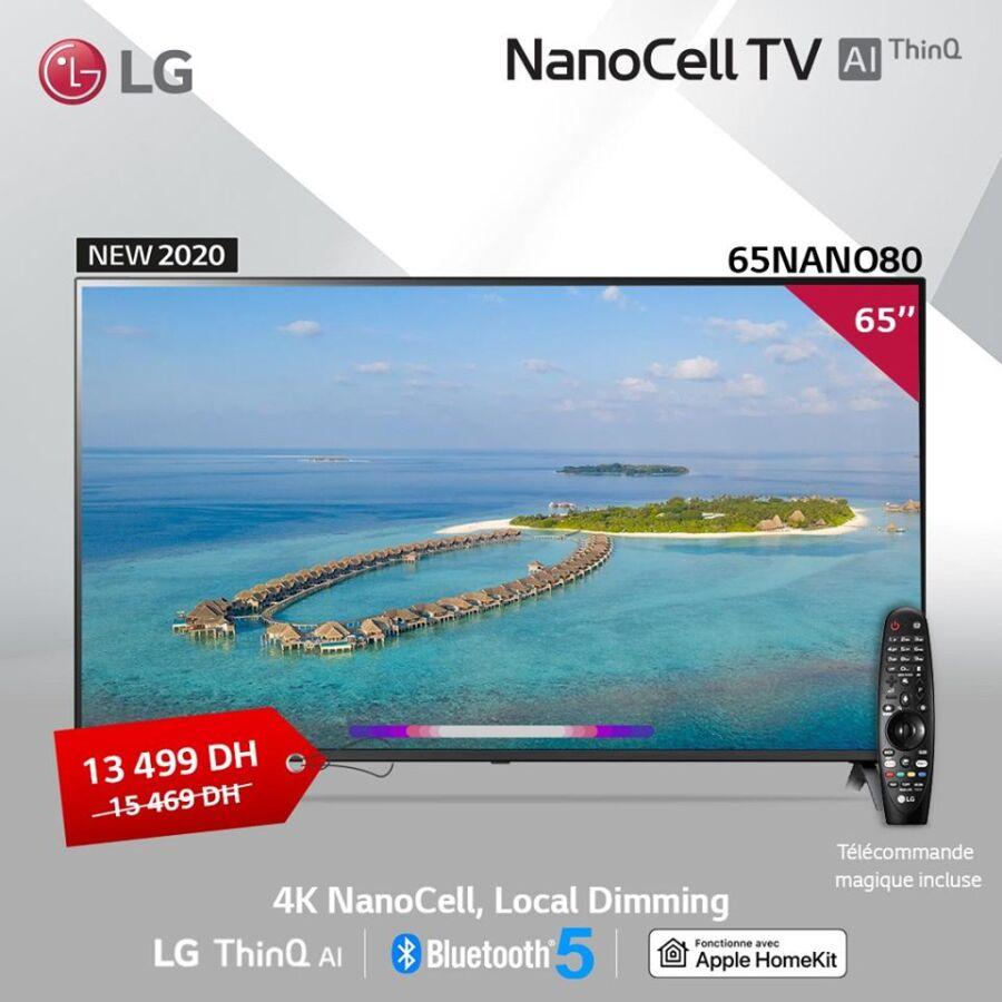 Soldes chez LG Maroc Smart TV 65° 4K NanoCell 13499Dhs au lieu de 15469Dhs