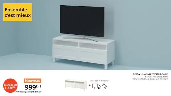 Offre Ensemble c'est mieux Banc TV avec Tiroirs blanc 999Dhs au lieu de 2335Dhs