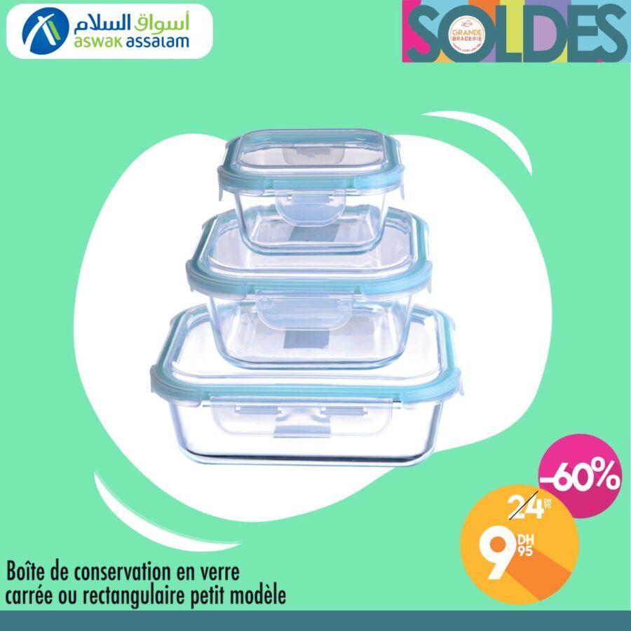 Soldes Aswak Assalam Boîte de conservation en verre 10Dhs au lieu de 25Dhs