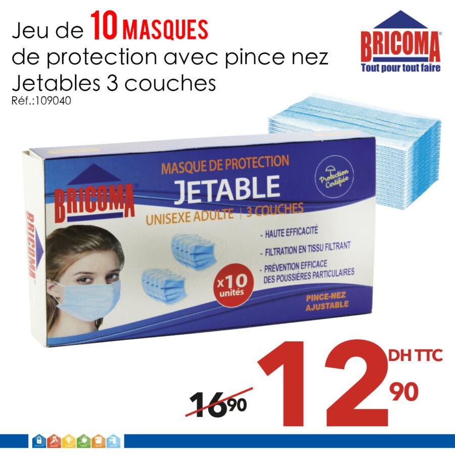 Promo Bricoma Jeu de 10 Masques de protection 13Dhs au lieu de 17Dhs