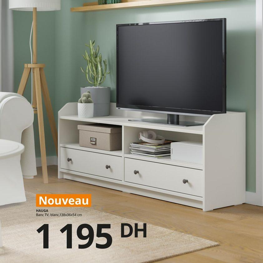 Nouveau Offre chez Ikea Maroc Banc TV blanc HAUGA à seulement 1195Dhs