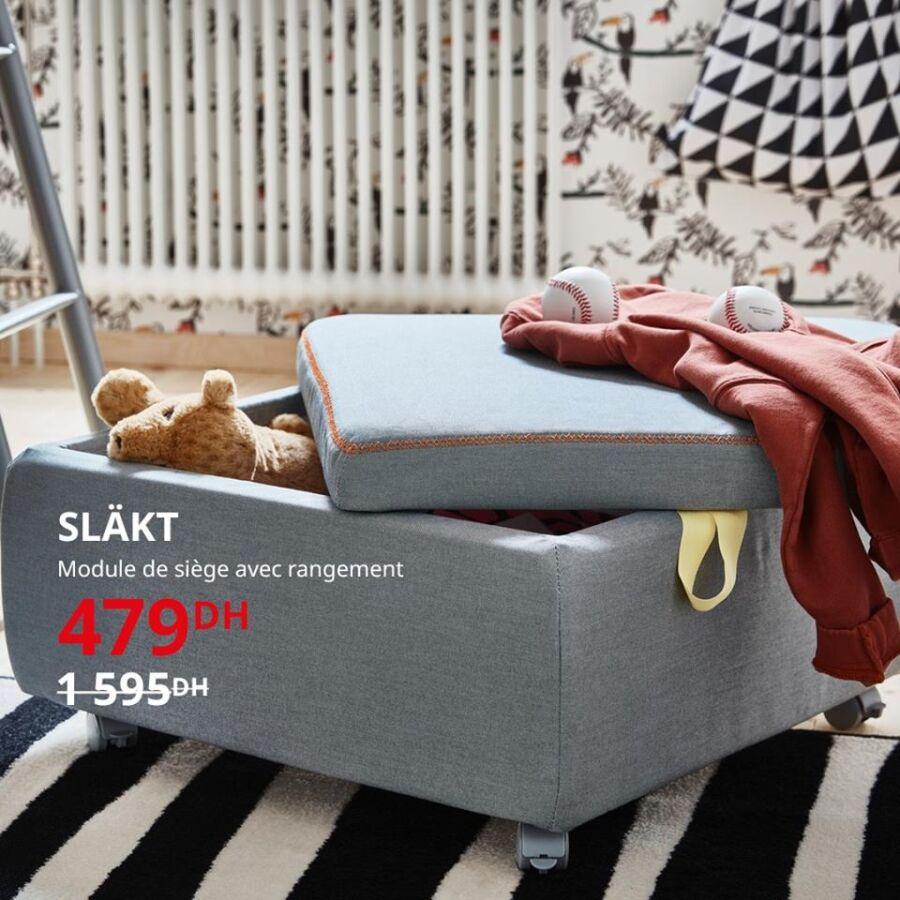 Solde Ikea Maroc Module de siège avec rangement SLAKT 479Dhs au lieu de 1595Dhs