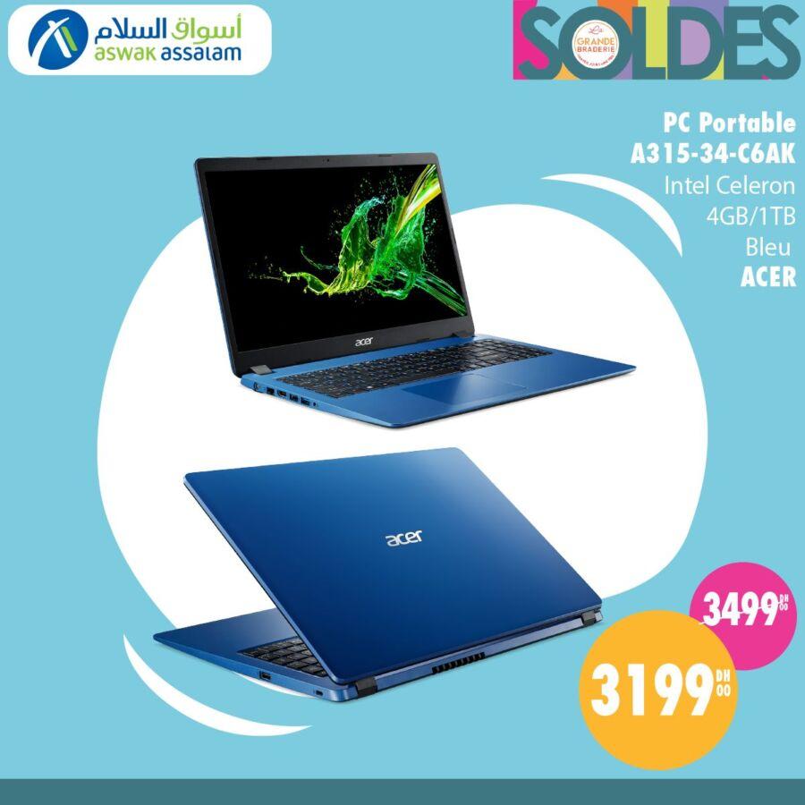 Soldes Aswak Assalam Pc Portable Celeron ACER 3199Dhs au lieu de 3499Dhs