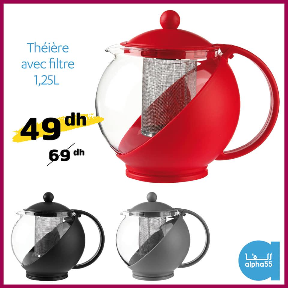 Offre promotionnel chez Alpha55 Théière avec filtre 1.25L 49Dhs au lieu de 69Dhs