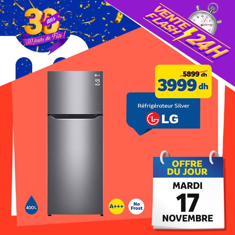 Vente Flash Aujourd'hui Seulement Marjane Réfrigérateur Silver LG 3999Dhs au lieu de 5899Dhs
