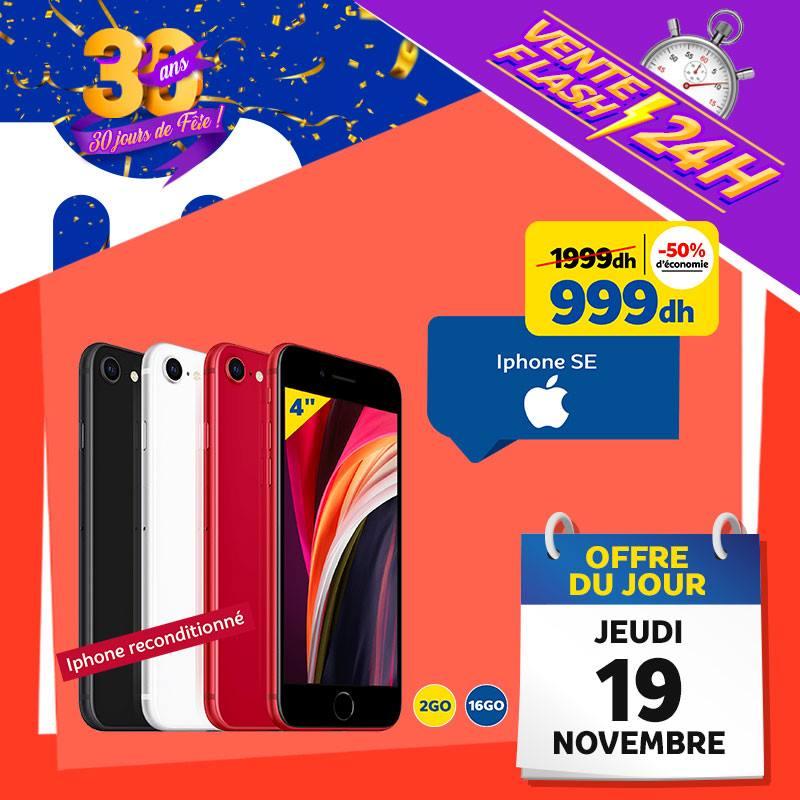 Vente Flash Aujourd'hui Seulement iPhone SE reconditionné 999Dhs au lieu de 1999Dhs