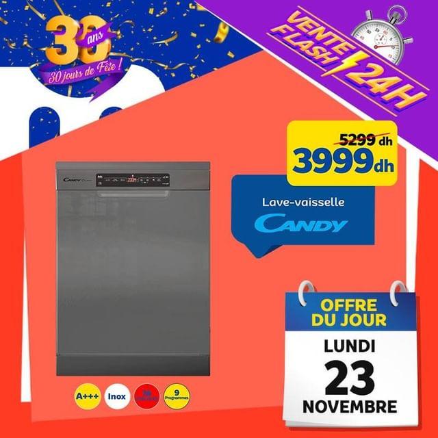 Vente Flash Aujourd'hui seulement Marjane Lave-vaisselle CANDY 3999Dhs au lieu de 5299Dhs