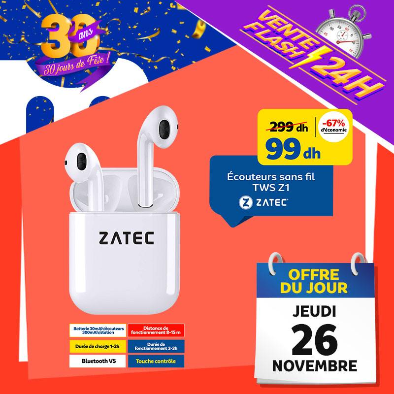 Vente Flash Aujourd'hui Seulement Ecouteurs sans fil ZATEC 99Dhs au lieu de 299Dhs