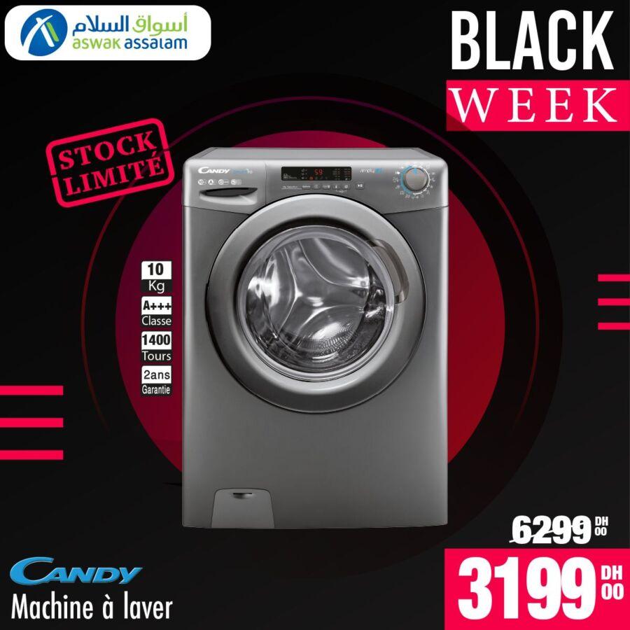 Black Week Aswak Assalam Lave linge 10Kg CANDY 3199Dhs au lieu de 6299Dhs