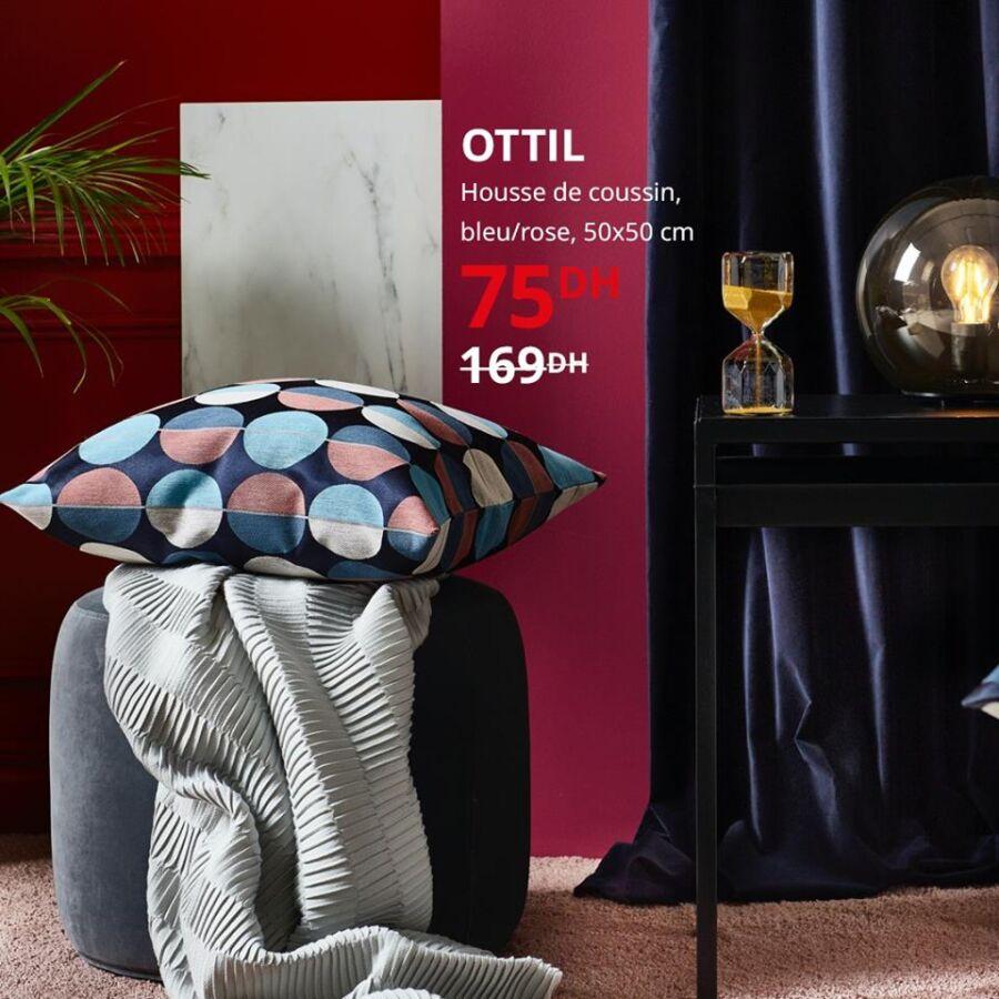 Solde Ikea Maroc Housse de coussin bleu/rose 75Dhs au lieu de 169Dhs