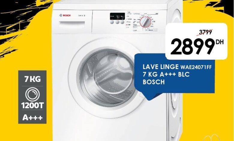 Offre Black Friday Marjane Lave-linge 7Kg BOSCH 2899Dhs au lieu de 3799Dhs
