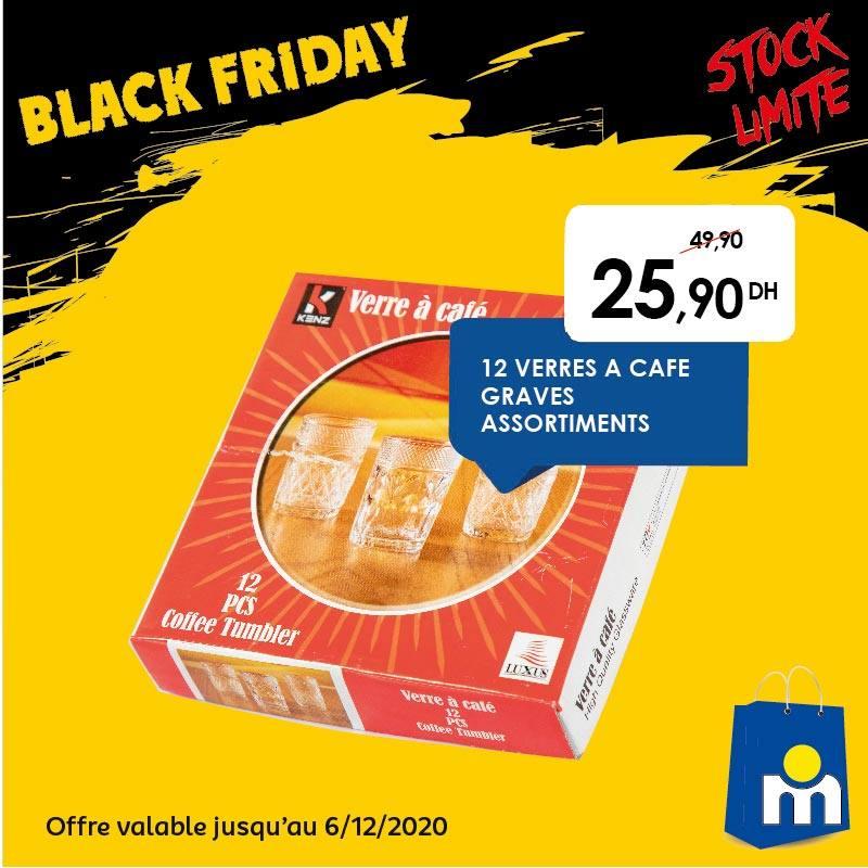 Black Friday Marjane 12 Verres à café KENZ 26Dhs au lieu de 50Dhs