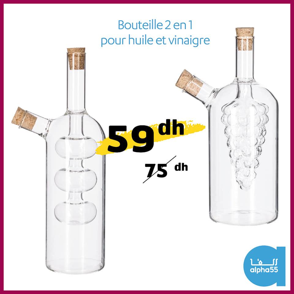 Offre promotionnel chez Alpha55 Bouteille 2en1  huile et vinaigre 59Dhs au lieu de 75Dhs