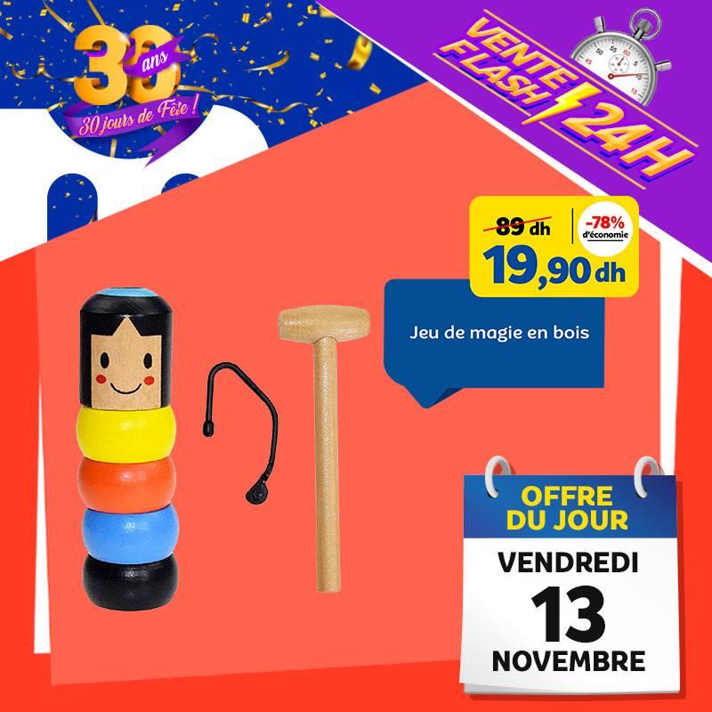 Vente Flash Aujourd'hui Seulement chez Marjane Jeu de magie en bois 20Dhs au lieu de 89Dhs