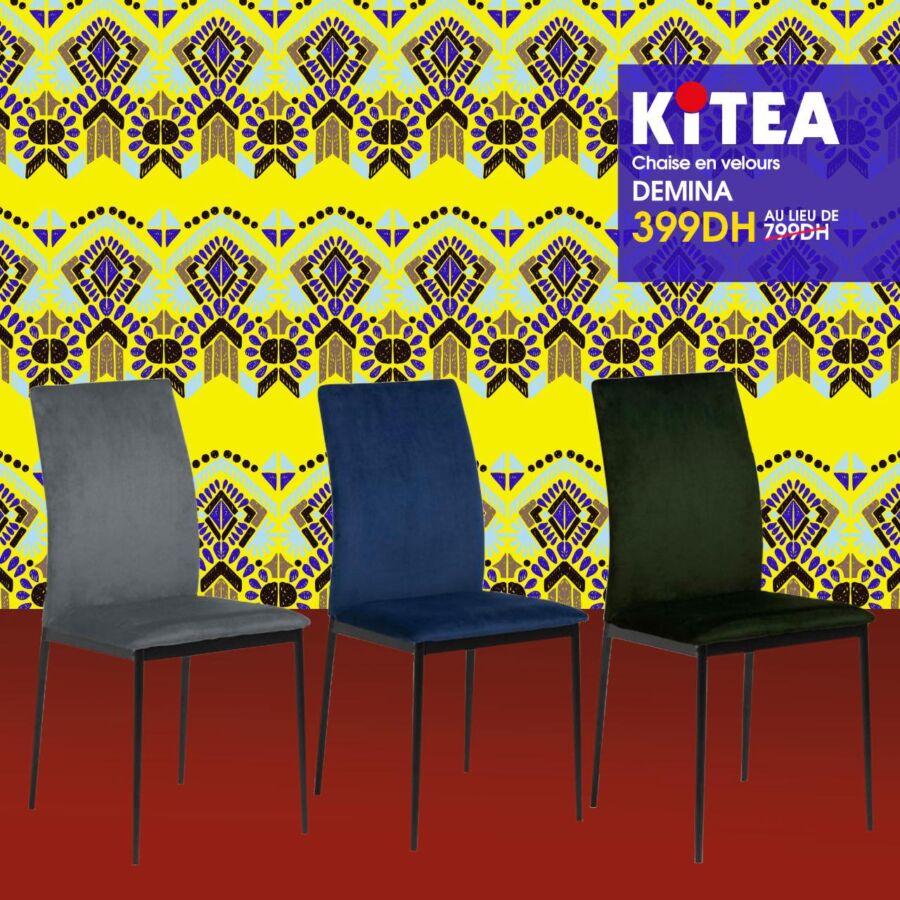 Promo chez Kitea Chaise en velours DEMINA 399Dhs au lieu de 799Dhs