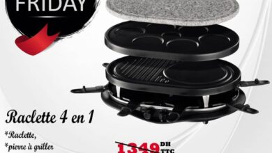 Promo White Friday Tangerois Raclette 4en1 RUSSELL HOBBS 1249Dhs au lieu de 1349Dhs