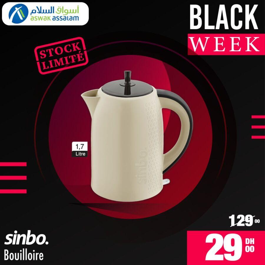 Black Week Aswak Assalam Bouilloire 1.7L SINBO à 29Dhs au lieu de 129Dhs