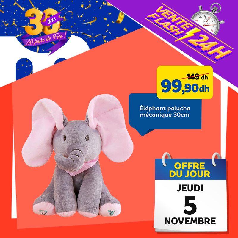 Vente Flash Aujourd'hui Seulement chez Marjane Peluche éléphant