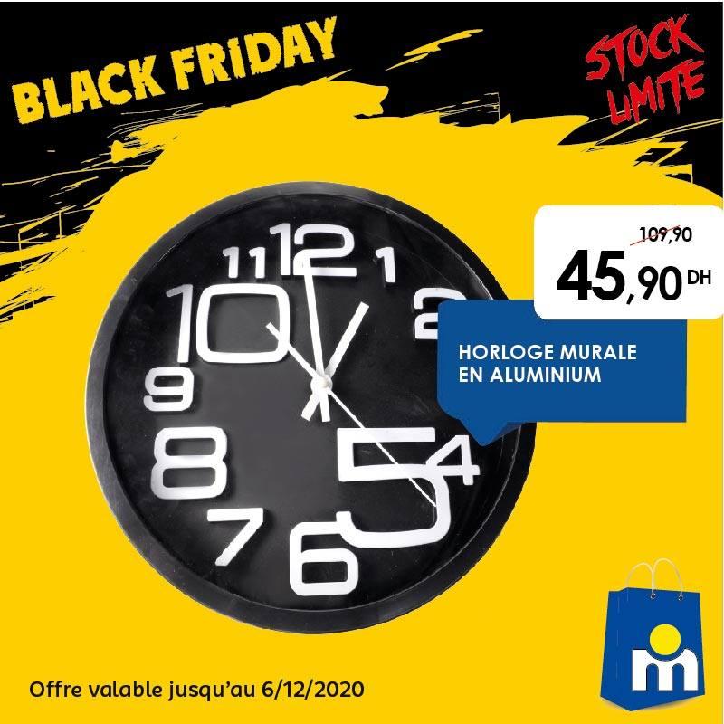 Offre Black Friday Marjane Horloge murale en Aluminium 46Dhs au lieu de 110Dhs