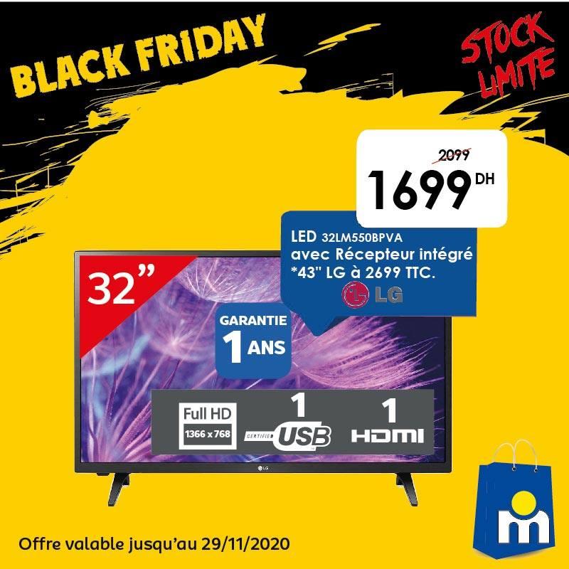 Offre Black Friday Marjane TV récepteur intg 32° LG 1699Dhs au lieu de 2099Dhs