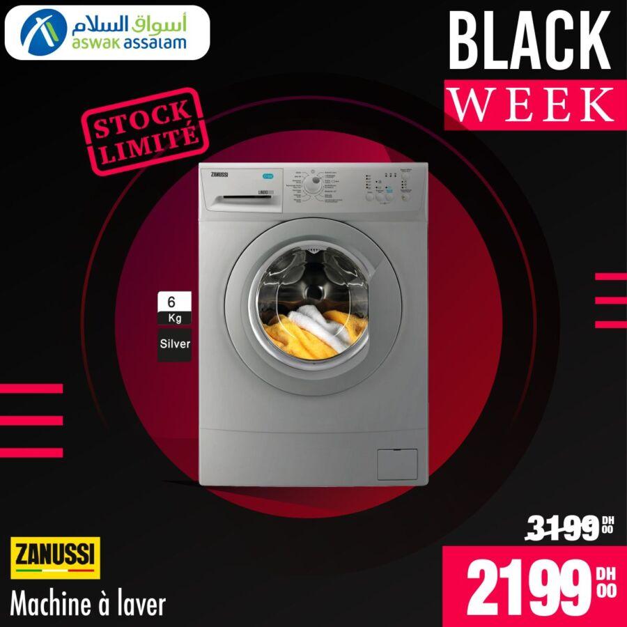 Black Week Aswak Assalam Lave-linge 6kg ZANUSSI 2199Dhs au lieu de 3199Dhs