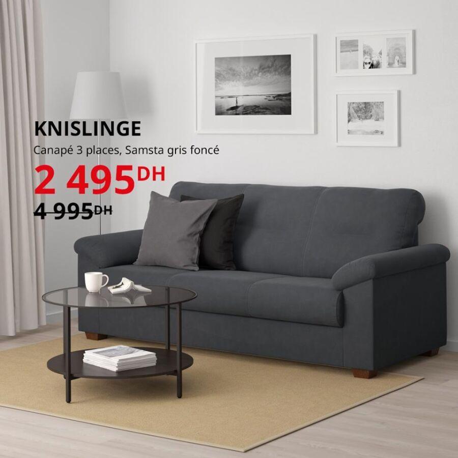 Soldes Ikea Maroc Canapé 3 Places 2495Dhs au lieu de 4995Dhs
