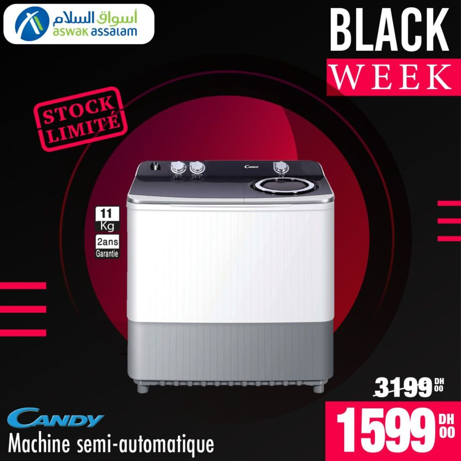 Black Week Aswak Assalam Lave-linge semi-automatique CANDY 1599Dhs au lieu de 3199Dhs