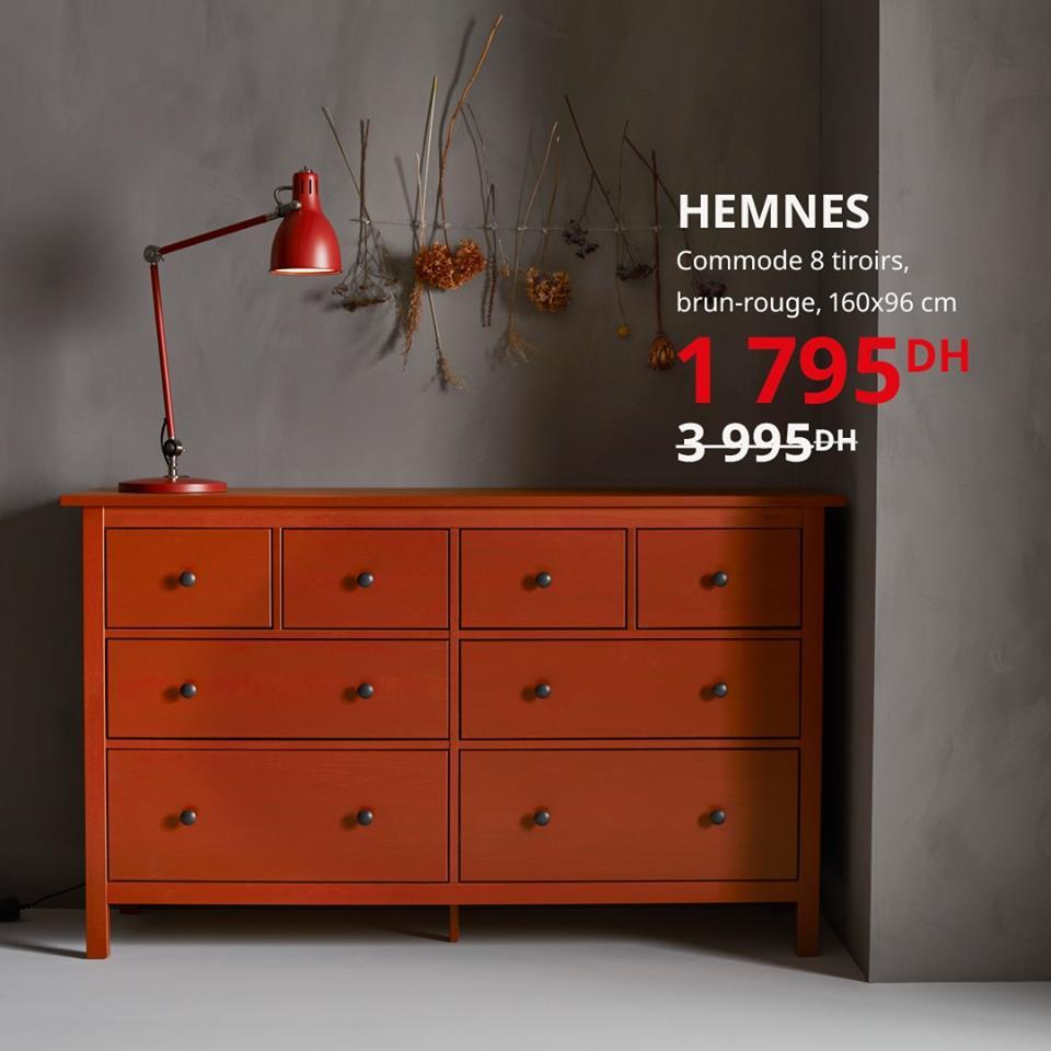 Soldes Ikea Maroc Commode 8 tiroirs brun-rouge HEMNES 1795Dhs au lieu de 3995Dhs