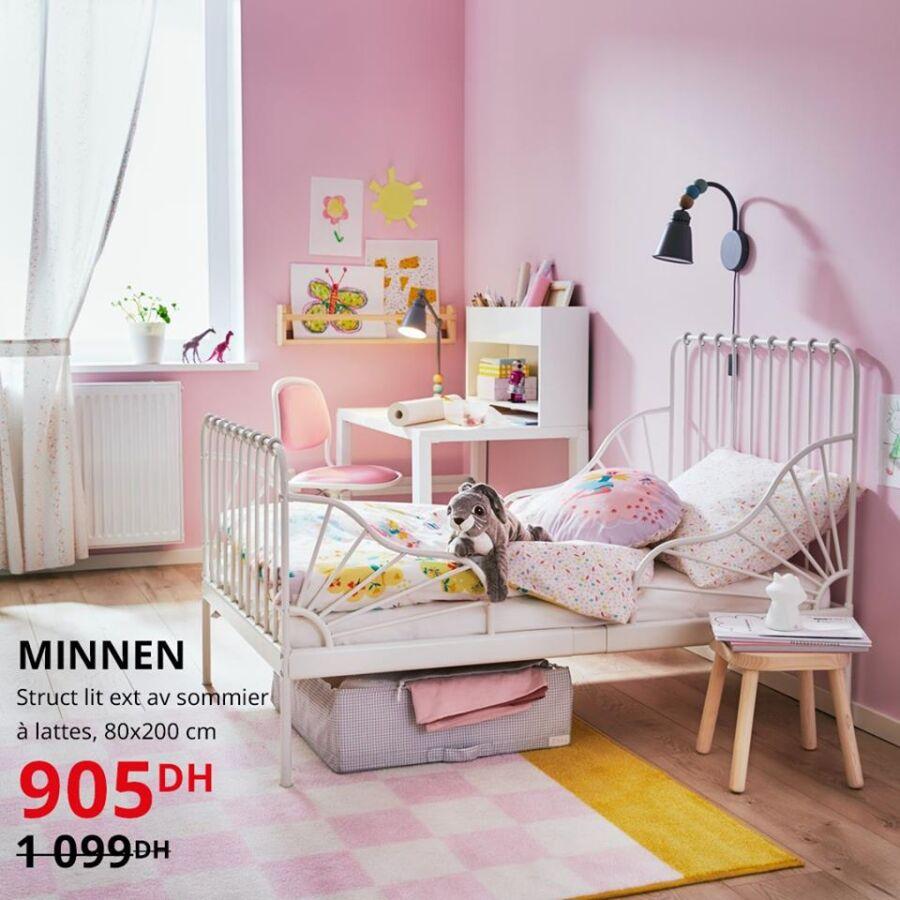 Solde Ikea Maroc Struct lit ext avec sommier à latte MINNEN 905Dhs au lieu de 1099Dhs