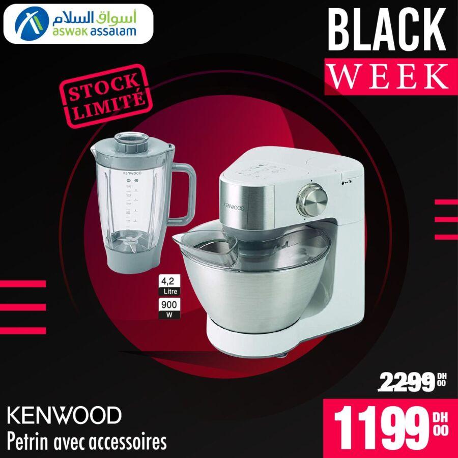 Black Week Aswak Assalam Pétrin avec accessoires KENWOOD 1199Dhs au lieu de 2299Dhs