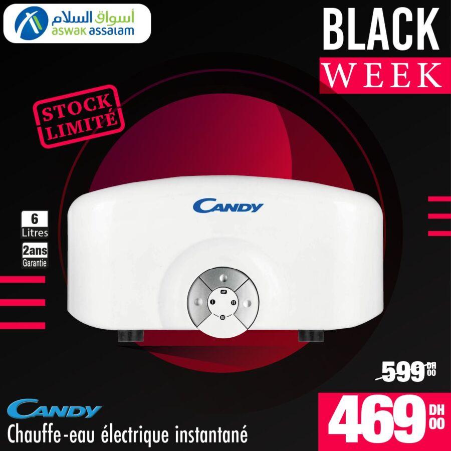 Black Week Aswak Assalam Chauffe-eau élec instantané CANDY 469Dhs au lieu de 599Dhs