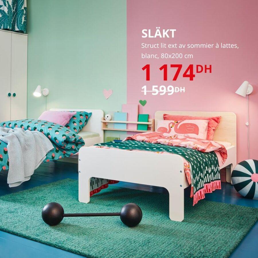 Solde Ikea Maroc Struct lit ext avec sommier à latte SLAKT 1174Dhs au lieu de 1599Dhs